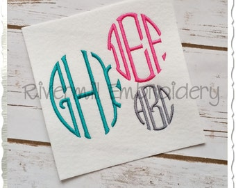 Oval 3 Letter Monogram Machine Embroidery Font Alphabet - 3 Sizes