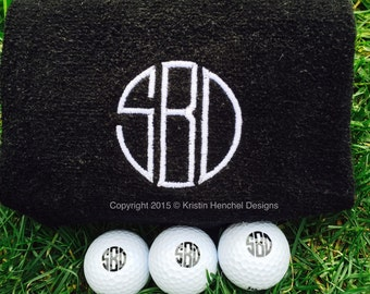 Gift Set Monogrammed/Personalized Golf Balls set of 3, 6 or 12 and Golf Towel