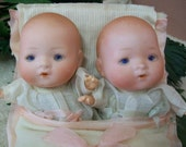 Infant Twin Porcelain Sleepy Eyes Dolls In Double Bunting