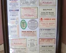 Framed Medicine Labels Vintage Labels