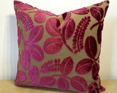 BERRY PINK -Dark magenta pink Designers Guild leaf motif raised cut velvet SQUARE cover pillow sham. Pink velvet on dark linen fabric.