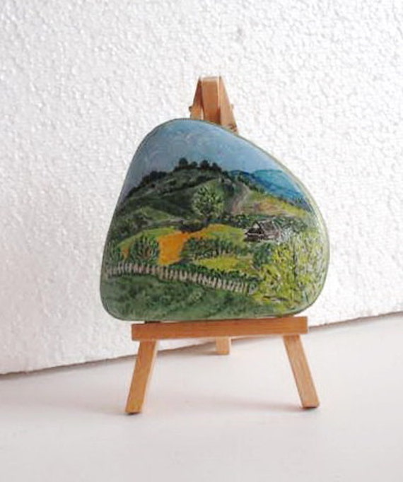 Hand Painted Stone. inspirational forest house. River rock Artwork Home Garden Decor.