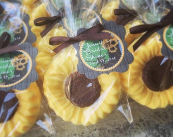 30 Sunflower Soap Favors - Sunflower Bridal Shower Favors, Sun Flower Baby Shower, Rustic Wedding Favors, Seed Party, Personalized Soaps