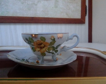 Vintage Lefton China Teacup Set/Footed Cup and Saucer set, Fine China, Yellow/Green/Gold Floral Pattern