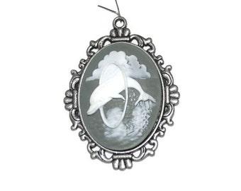 Dolphin Cameo Pendant  Antiqued Silvertone Unique Discount Jewelry Supplies