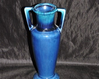 Vintage Cobalt Blue Bud Vace Double Handled Ceramic Japan Mid Century Mod 7 inches