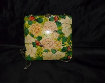 Vintage Hand Painted Pink Green Floral Wooden Purse Clutch Bag Hippie Boho 60s 70s Wood Shoulder Chain