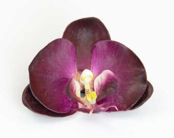Plum Purple Orchid - Realistic Touch Flower Hair Clip - Dark Purple - Wear in Your Hair, Accent Hairstyle, Clip to Clothing