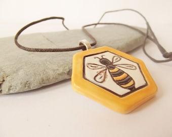 Handmade Ceramic Pottery Honeycomb Bee Pendant Necklace in a Gift Box,  Yellow Jewellery, Honey Bee, Bee Jewelry, Bee Goddess, Bee Totem