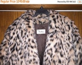 NOW ON SALE Vintage Cattiva Leopard Print Faux Fur Long Coat ** Women's Animal Print Jacket Size  Xl* Retro Rockabilly Accessory * Old Holly