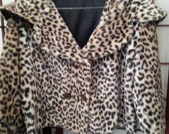Now On Sale Vintage Leopard Faux Fur Jacket 1960's Womens Chetah Short Pea Coat Mad Men Mod Glamour Girl  Rockabilly Pin Up Coat