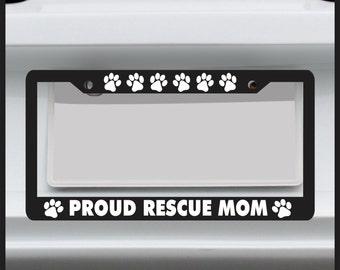 paw print rescue mom license plate frame dog puppy kitten car tag frame - Dog License Plate Frames