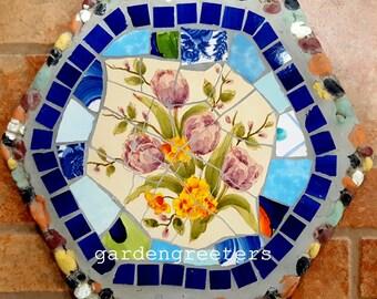Mosaic stepping stone Mosaic wall plaque Mosaic wall decor-blu