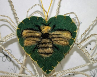 Needle felted heart ornament, Forget me not heart ornament, bumble bee felt heart ornament, gold black bumble bee felted heart pincushion