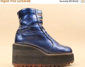 24HR FLASH SALE 90s Vtg Rare Holographic Metallic Blue Genuine Leather Ankle Platform Wedge Boots / Rave Cyber Grunge Club Kid Vaporwave Ten