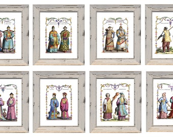 Set of 8 Chinoiserie Prints Discount Price Size 8 x 10 inches. Discount Chinese Prints. 8 Chinese Emperor Court Costumes Discounted Prices