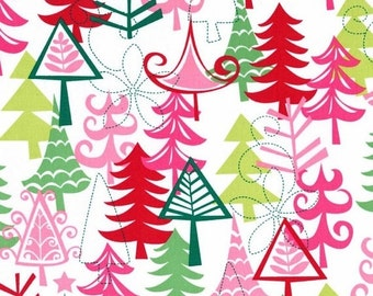 on SALE thru 8/1 YULE TREES Michael Miller  Christmas quilters cotton fabric by the Half yard Cx3637-santa