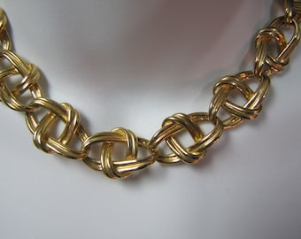 """c1960's Erwin Pearl Gold Plated Fashion Link Necklace/Choker 17-3/4"""" Necklace"""
