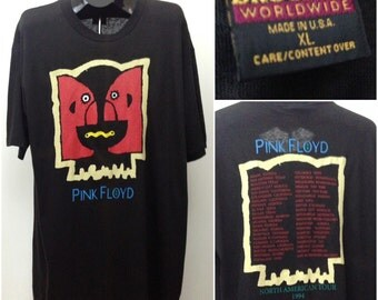 Vintage 1990s Black Pink Floyd Division Bell Rock Concert Tour 94 Double Graphics / Men's XL / 90s Cotton Made In USA Classic Rock