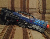 Painted NERF Destiny Cosplay Rifle Longshot w/ Recon Front Barrel attachment and Illumination.