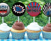 Optimus Prime Cupcake Toppers Optimus Prime Transformers Birthday Party Optimus Prime Decorations PRINTABLE Customized