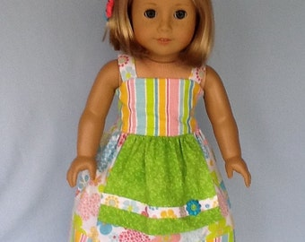 18 inch Doll Clothes.  Will fit American Girl Doll. Banded Sundress with  ruffled pants.