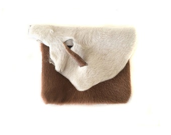 Vintage Tan and White Cow Hair Leather Pouch