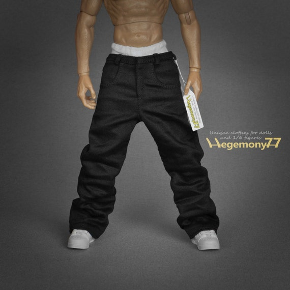 1/6th scale black baggy hip hop rapper jeans trousers for collectible action figures
