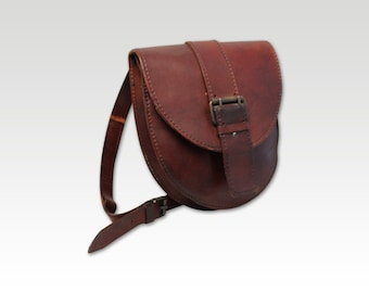 Vintage Brown Leather Saddle Bag, Messenger, Cross Body Bag