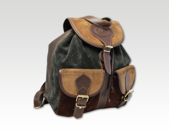 Vintage, Brown & Green Leather Back Pack, Pack, Knapsack, Handbag, Shoulder Bag, Shopper