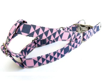 Dog Harness, GEOMETRIC PINK BLUE Dog Step in Harness, Handmade Dog Harness, Girl Dog Harness, Step in Dog Harness