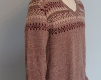 Men's Retro V-Neck Fair Isle Wool Sweater