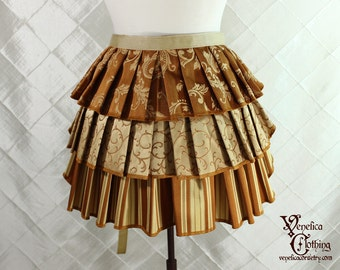 """Ruffle Bustle Overskirt - 3 Layer, Sz. S - Pumpkin & Gold - Best Fits up to 42"""" Waist/Upper Hip -- Ready to Ship"""