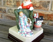 Norman Rockwell Waiting on Santa music box figurine dated 1986 vintage  N. Rockwell Museum