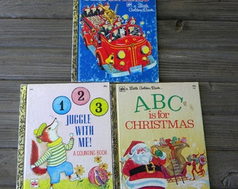 Little Golden Books lot of 3 learning books counting ABCs Fire trucks