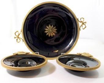 Black Opaline Bowls x 3 with Ormolu Rims