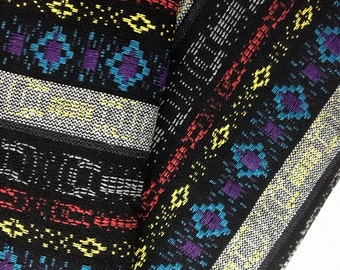 Thai Woven Fabric Tribal Fabric Native Fabric by the yard Ethnic fabric Aztec fabric Craft Supplies Woven Textile 1/2 yard Black (WF20)