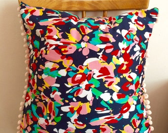 Abstract Summer Floral Print Cushion // Pom Pom Trim Envelope Cushion  with Hollowfibre Inner // 16x16