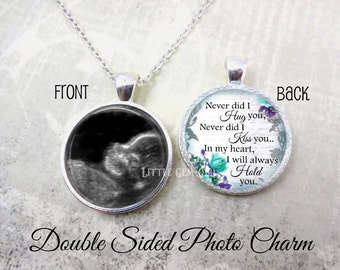 Miscarriage Keepsake Jewelry - Ultrasound Memorial Necklace - Double Sided Custom Photo Sonogram Necklace Personalized Loss of Baby Pendant