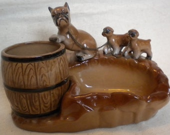 vintage boxer with puppies ash tray cigarette holder boxer puppies pipe stand and tobacco barrell