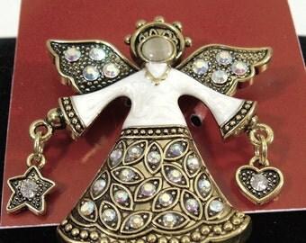 Vintage Enamelled Sparkling Angel Brooch