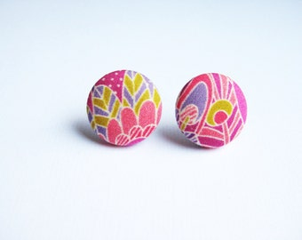 Fabric covered button earrings in dark pink, coral, purple and acid green