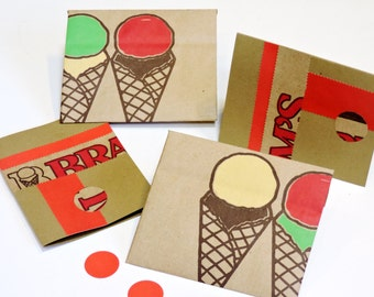 Paper Bag Stationery, Ice Cream Cone Envelopes n Note Cards, Original Upcycled Grocery Sack Greeting Card Set of 2 itsyourcountry