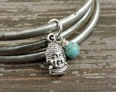 Buddha Bracelet Set, Turquoise Howlite Bead, Distressed Silver Stacked Bracelets, Boho Yoga Meditation Jewelry, Bohemian Indian Bangles,