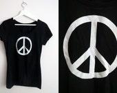 Peace Sign Print T shirt Womens Black White Size 10 S-M
