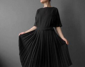 Vintage 60s Carl Naftal Originals Black Pleated Dress Medium Mad Men