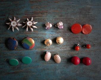 Vintage Earrings Lot of 10 Pairs Bulk Various 50s 60s 70s 80s Clip Ons