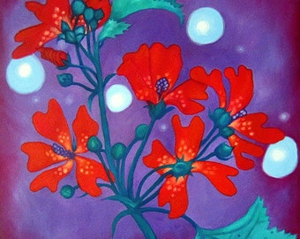 Red Flowers with Purple Background