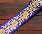 1 Yard-Zari Fabric Trim Wide Trim-Blue Embroidered Floral Design-Crazy Quilt Trims-Sari Border-Designer Silk Sari Fabric Trim By The Yard