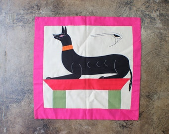 Egyptian Wall Hanging/ Vintage Applique Anubis / Colorful Quilted Wall Art / Vintage Home Decor